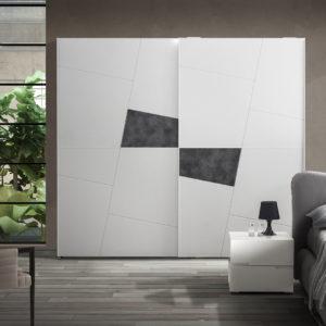 armadio moderno inserti cemento; armadio moderno laccato bianco a Roma;