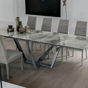 tavolo moderno allungabile in gres arabescato
