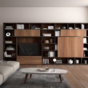 libreria a spalla, soggiorno moderno, soggiorno a spalla